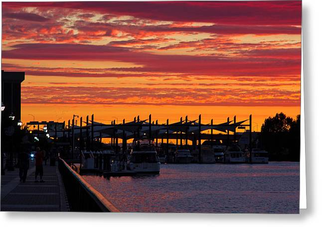 Stockton Sunset Greeting Card by Randy Bayne