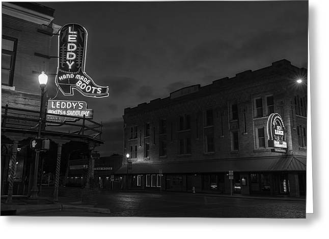 Stockyards Main And Exchange Bw Greeting Card