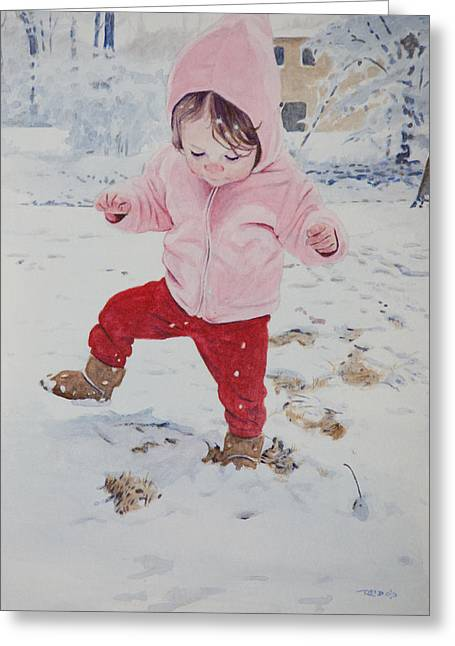 Stomping In The Snow Greeting Card