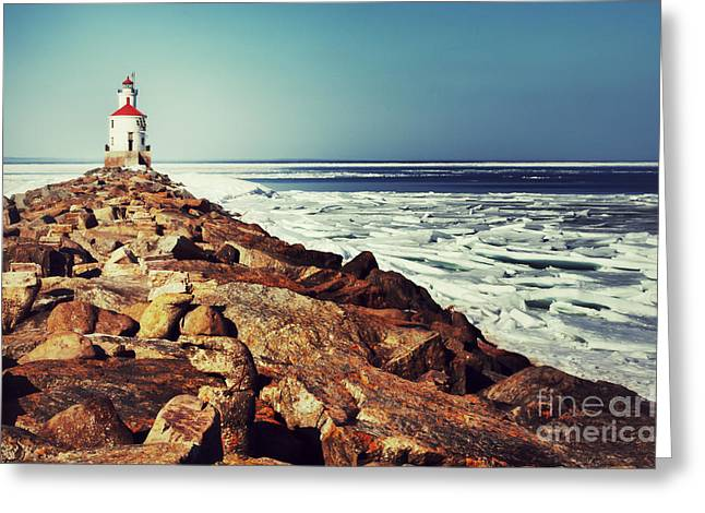 Greeting Card featuring the photograph Stone And Ice At Wisconsin Point by Mark David Zahn