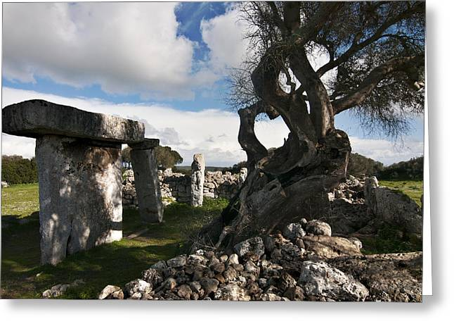 Talayotic Culture In Minorca Island - Stone And Wood Under A Blue Sky Greeting Card