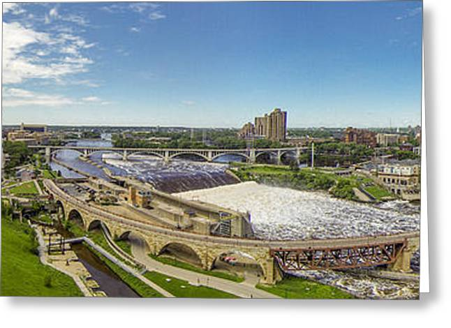Greeting Card featuring the photograph Stone Arch Bridge From The Air by Mike Evangelist