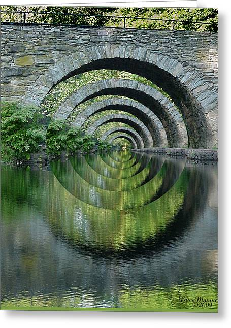 Stone Arch Bridge Over Troubled Waters - 1st Place Winner Faa Optical Illusions 2-26-2012 Greeting Card by EricaMaxine  Price