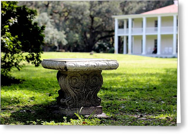 Stone Bench Greeting Card by William Tucker