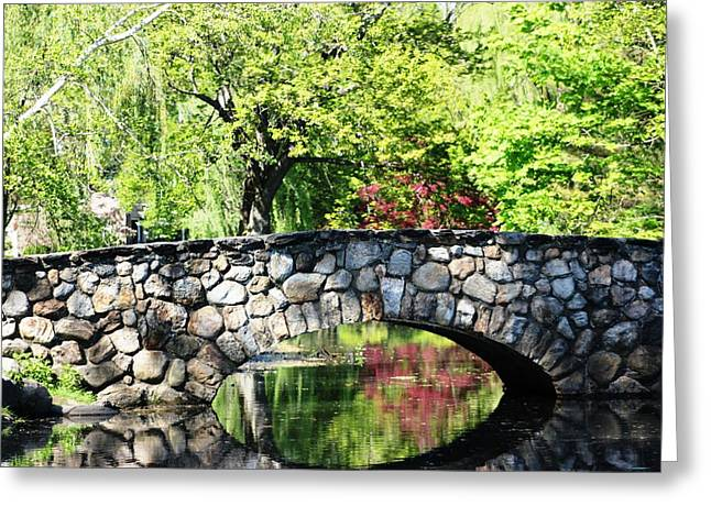 Greeting Card featuring the photograph Stone Bridge Reflection by Judy Palkimas
