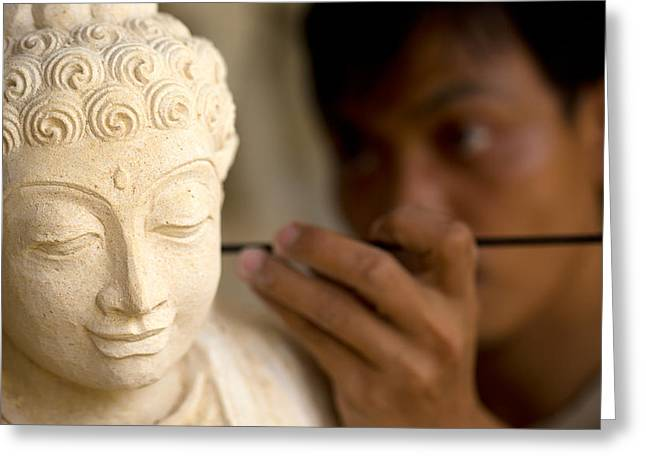 Greeting Card featuring the photograph Stone Carver - Bali by Matthew Onheiber