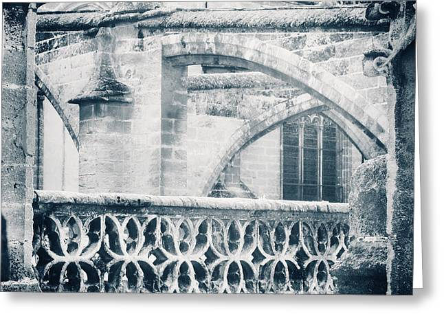 Stone Church Arches In Blue Greeting Card by Angela Bonilla