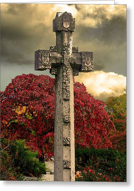 Greeting Card featuring the photograph Stone Cross In Fall Garden by Lesa Fine