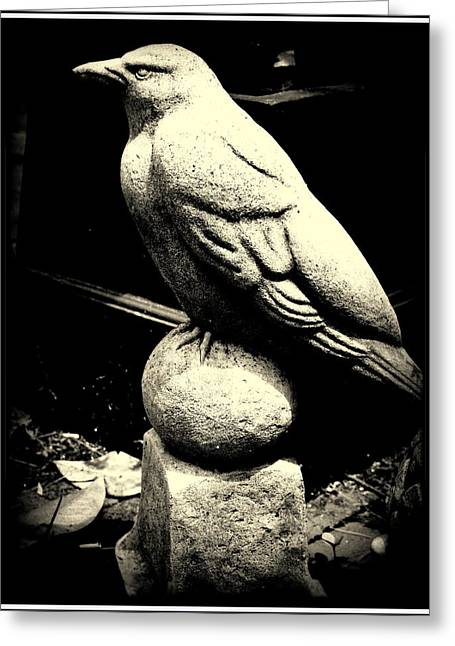 Stone Crow On Stone Ball Greeting Card