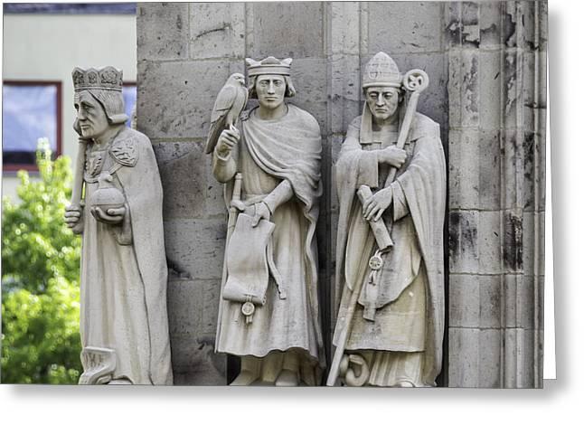 Stone Figure Trio Squared Greeting Card by Teresa Mucha