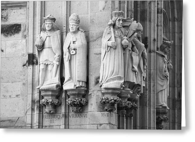 Stone Figures Cologne Germany Bw Greeting Card by Teresa Mucha