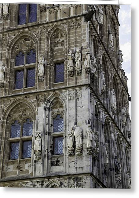 Stone Figures On City Hall Cologne Germany Greeting Card by Teresa Mucha