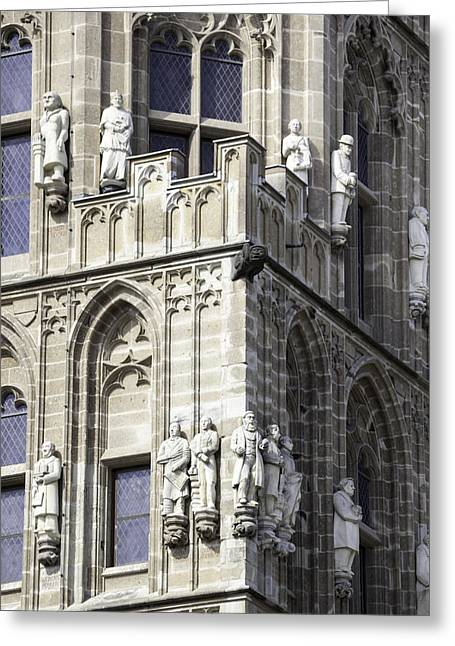 Stone Figures On Tower Of Rathaus Cologne Germany Greeting Card by Teresa Mucha