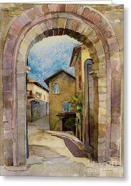 stone gate in Assisi Italy Greeting Card by Natalia Sinelnik
