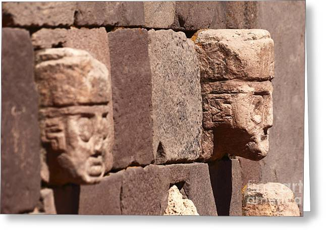 Stone Heads At Tiwanaku Greeting Card by James Brunker