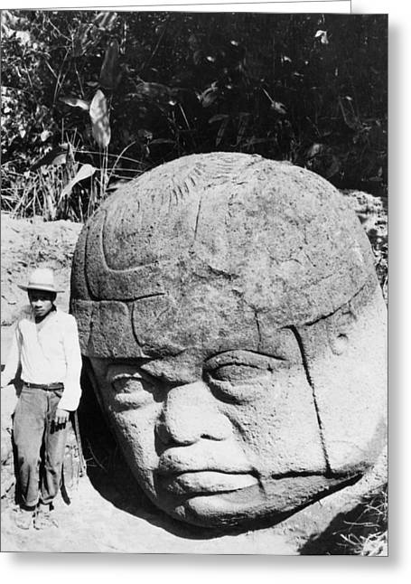 Stone Heads Found In Mexico Greeting Card by Underwood Archives