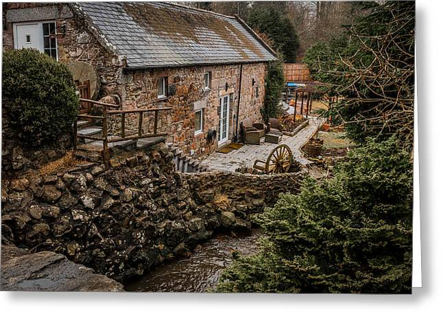 Stone Home By The Stream Greeting Card