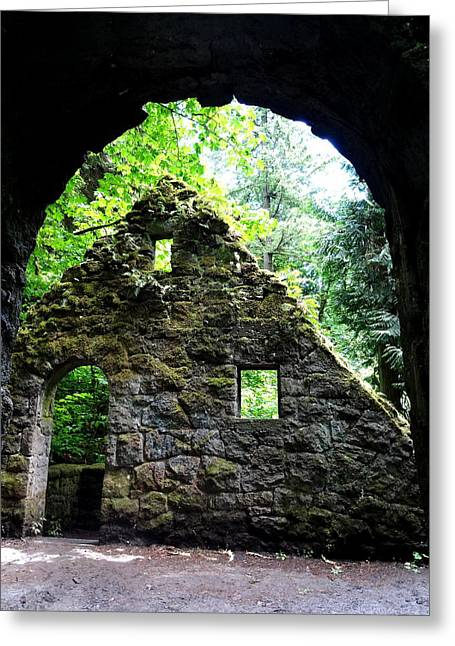 Stone House Doorway Greeting Card by Lizbeth Bostrom