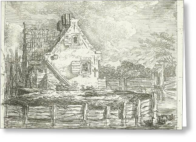 Stone House With Yard On The Waterfront, Albertus Brondgeest Greeting Card by Albertus Brondgeest
