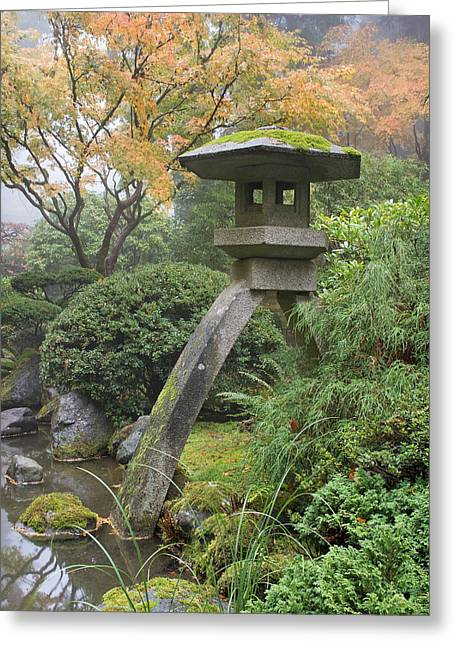 Greeting Card featuring the photograph Stone Lantern In Japanese Garden by JPLDesigns
