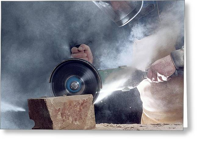 Stone Masonry Dust Exposure Greeting Card