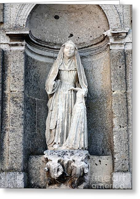 Stone Nun Greeting Card by Olivier Le Queinec