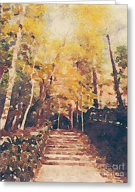 Stone Path Through A Forest In Autumn Greeting Card by Beverly Claire Kaiya