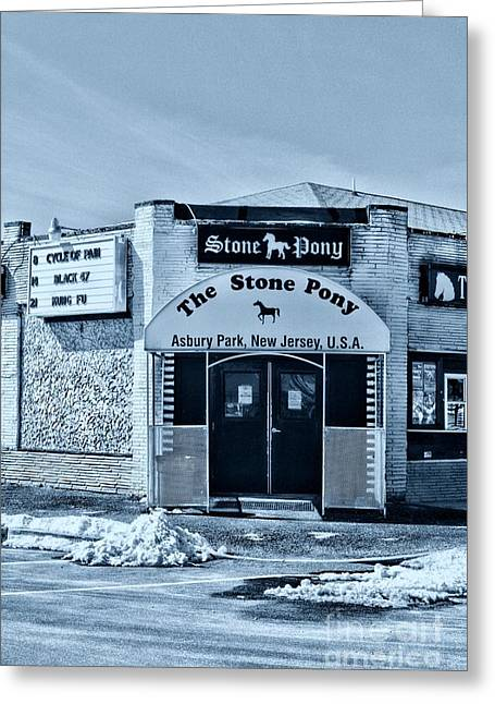 Stone Pony Cool Blue Enter Here Greeting Card by Paul Ward