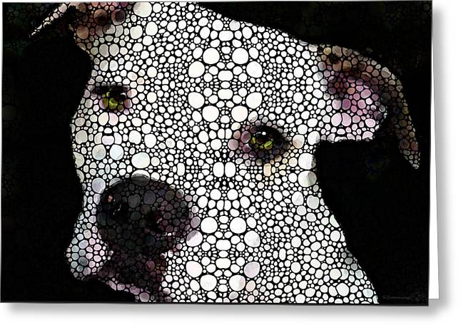 Stone Rock'd Dog By Sharon Cummings Greeting Card