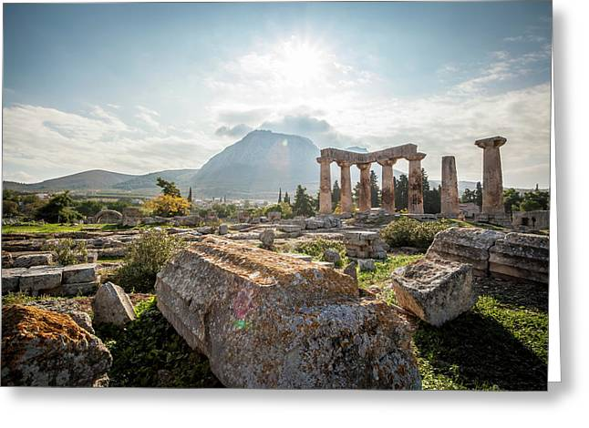 Stone Ruins, Temple Of Apollo  Corinth Greeting Card by Reynold Mainse