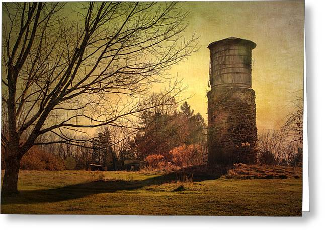 Stone Silo And Water Tower  Greeting Card