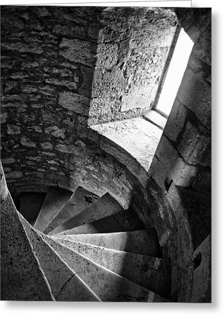 Stone Spiral Staircase Greeting Card by Georgia Fowler