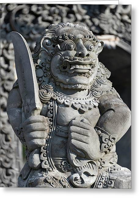 Stone Statue At Entrance Of Tanah Lot Greeting Card