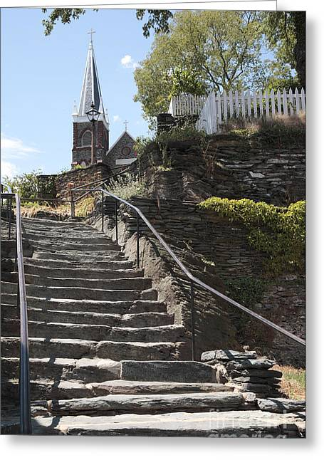 Stone Steps And Saint Peters Church At Harpers Ferry Greeting Card