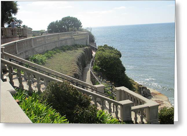Stone Wall Over The Sea Greeting Card by Vivien Rhyan