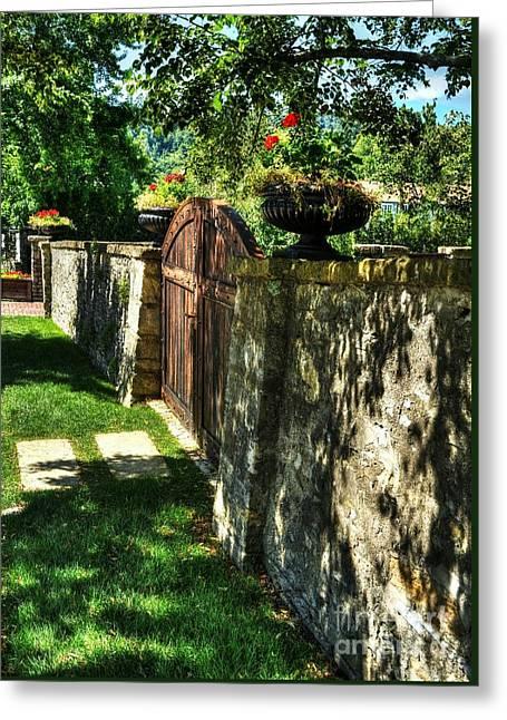 Stone Wall Shadows Greeting Card by Mel Steinhauer