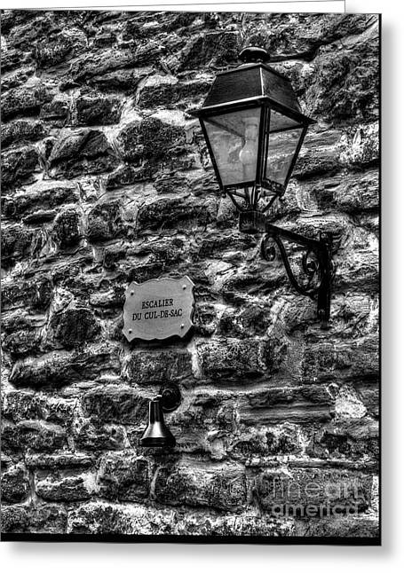 Stone Walls Of Old Quebec Greeting Card by Mel Steinhauer
