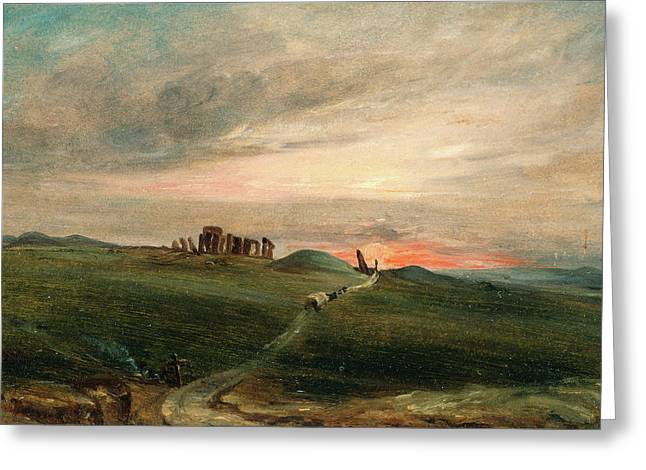 Stonehenge At Sunset, After John Constable Greeting Card by Litz Collection