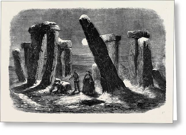 Stonehenge By Moonlight From The New Drama The Borgia Ring Greeting Card