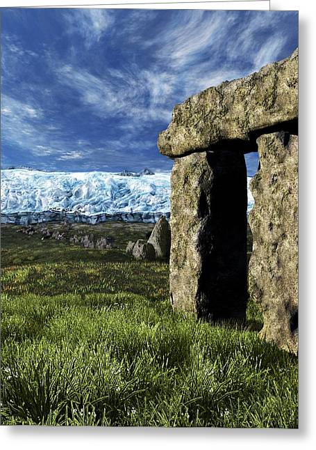 Stonehenge Glacier Theory Greeting Card by Nicolle R. Fuller