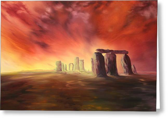 Greeting Card featuring the painting Stonehenge In Wiltshire by Jean Walker