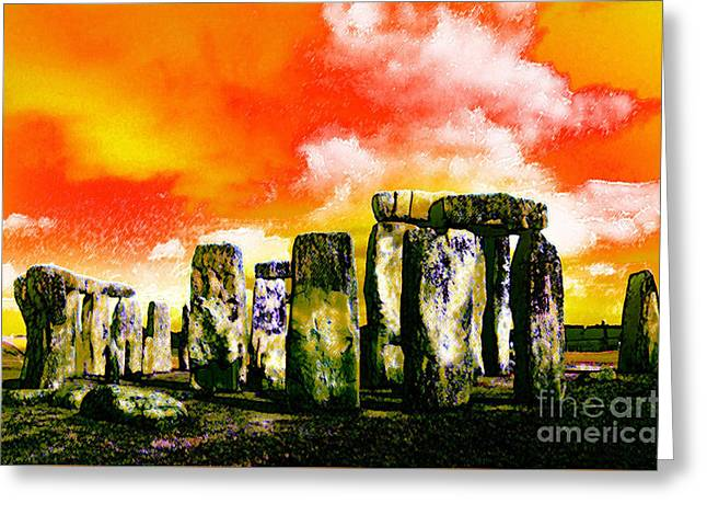 Stonehenge Sunset Greeting Card by Neil Finnemore