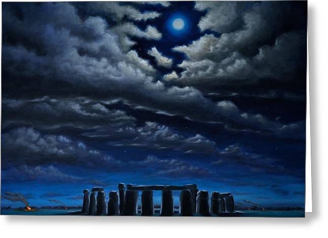 Greeting Card featuring the painting Stonehenge - The People's Circle by Ric Nagualero