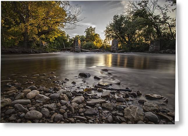 Stones And The Sundown Greeting Card by CJ Schmit