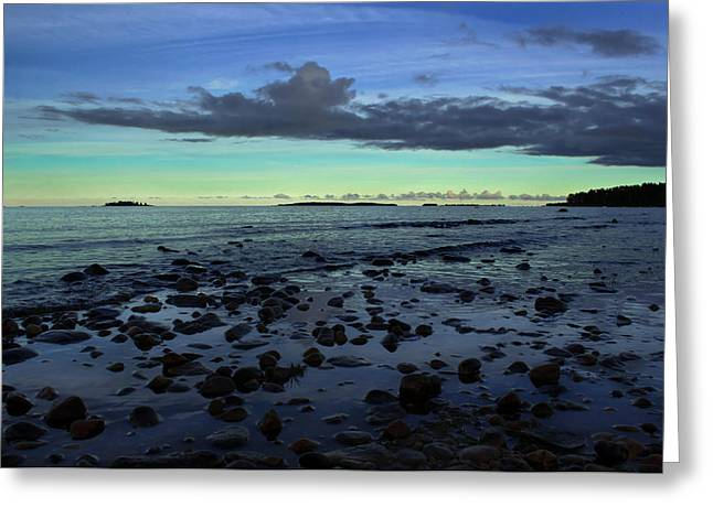 Stones In Water Greeting Card by Oscar Karlsson