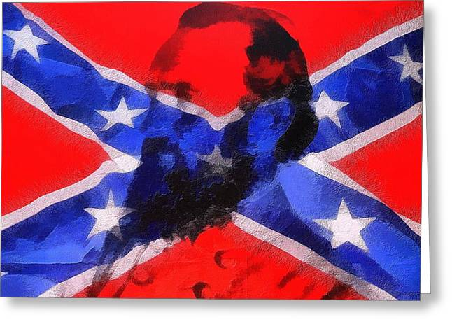 Stonewall Jackson On Confederate Flag Greeting Card by Dan Sproul