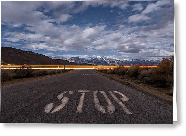 Stop Ahead Greeting Card by Cat Connor