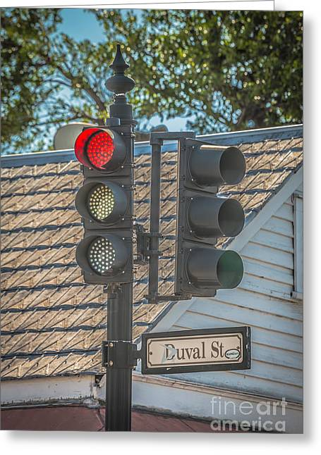 Stop For Red On Duval - Key West - Hdr Style Greeting Card