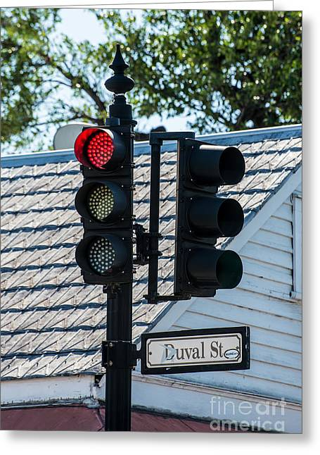 Stop For Red On Duval - Key West  Greeting Card