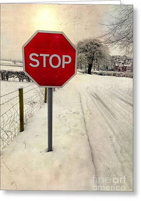 Stop Sign Greeting Card by Adrian Evans